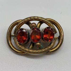 Victorian Vintage Antique Brooch C Clasp Etched